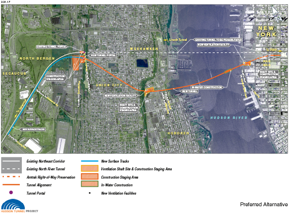 Hudson Tunnel Project Area Map - Click to view in large, high-resolution PDF format.